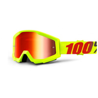 100% Strata Goggles Neon / Red Mirror